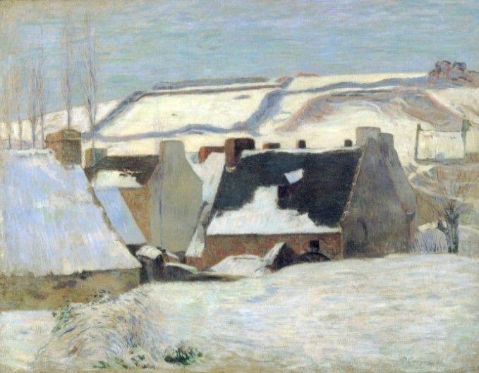 눈 덮인 브르타뉴 마을 - 폴 고갱