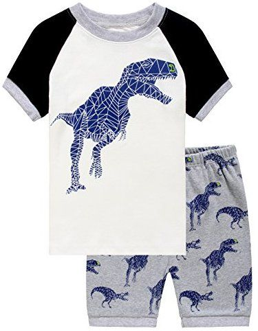 d37d2bb2b6b9 IF Pajamas Boys Dinosaur Little Kid Shorts Set 100% Cotton Sleepwear ...