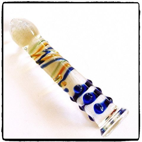 Lady Kink - Colourful Glass Dildo R 370.00 A slightly curved freestanding dildo with phallic head.