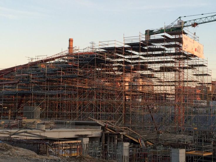 Lodz railway station construction - scaffold for west roof structure installation