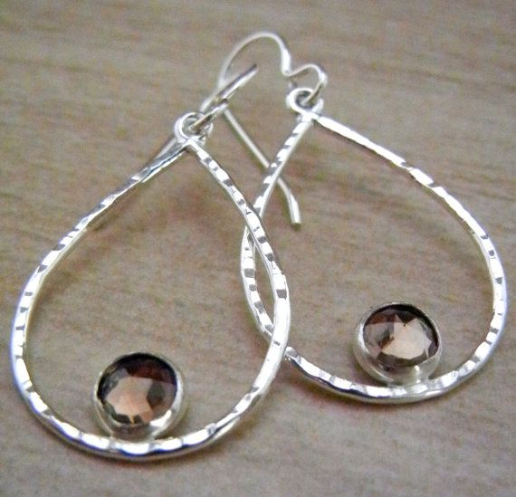 Sterling Silver Earrings with Smokey Quartz by megangillis on Etsy, $42.00