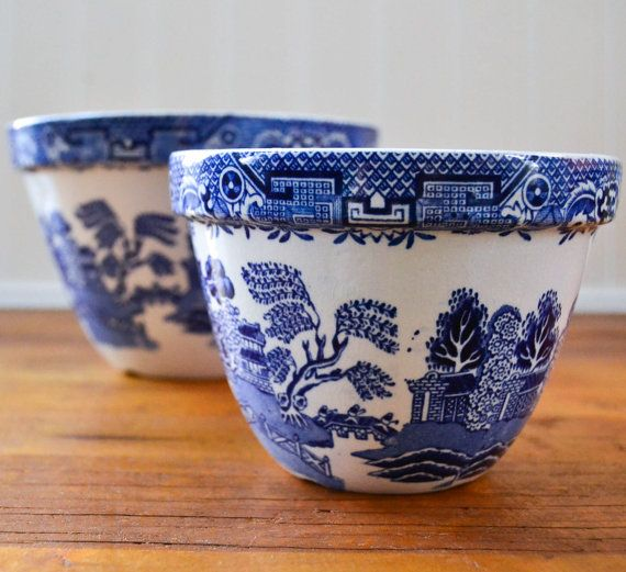 Vintage Blue Willow China Bowls - Made in England