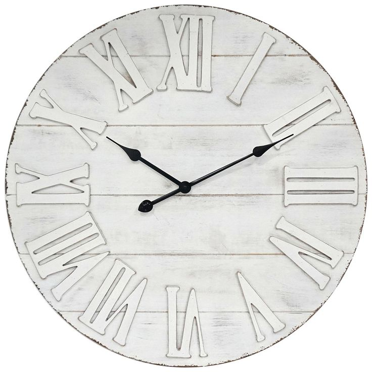 "Farm fresh and vintage style clock with roman numeral numbers. White stained wooden back piece. <p><a href=""https://www.athome.com/shanty-2-chic/""><img alt=""Shanty2Chic exclusize collaboration with At Home Stores"" src=""https://www.athome.com/on/demandware.static/-/Sites-main-catalog/default/dw0f733389/Shanty2Chic/PDP_tile_hangtag.jpg"" title=""Shanty2Chic..."