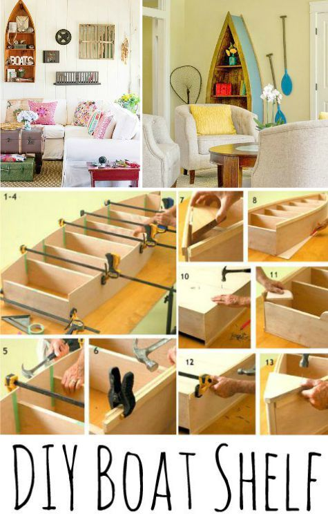 Build a Boat Shelf for Sea Inspired Storage: http://www.completely-coastal.com/2015/10/build-boat-shelf-for-sea-inspired.html