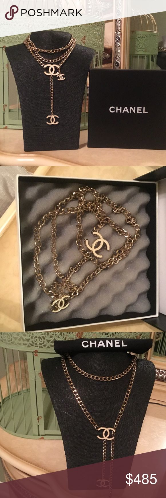 Authentic Gold & White Chanel Necklace/Belt Vintage Beautiful Chanel Necklace and can be used as a belt as well. CHANEL Jewelry Necklaces