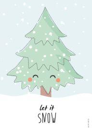 Kerstposter met denneboom 'let it snow' - tante kaartje - www.tante-kaartje.nl