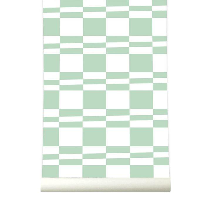 Behangpapier Squarestripe Pastelgreen