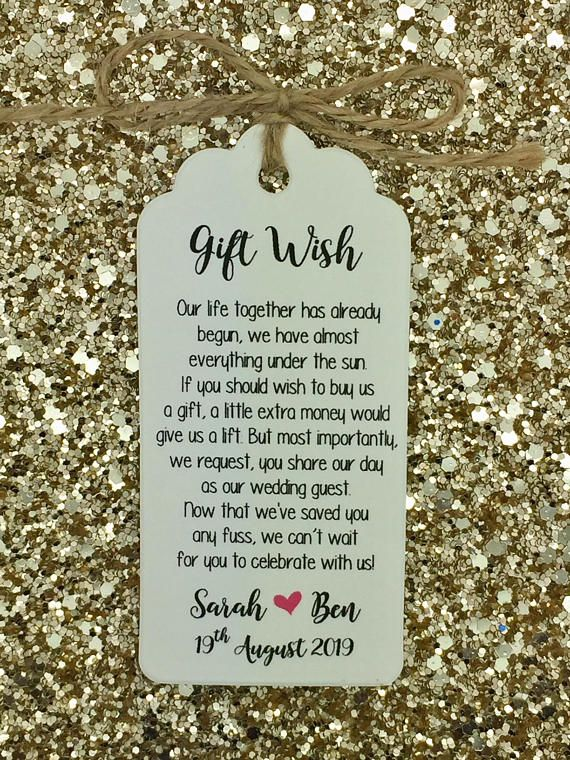 Personalised Wedding Gift wish Poem Tags with a string (packed separately) If like to have a different poem or text feel free to contact me :) The tag size is 9.5cm*4.5cm / 300gsm card Personalised with a BRIDE & GROOM NAMES + WEDDING DATE the rest will be the EXACT DESIGN/ WORDING as