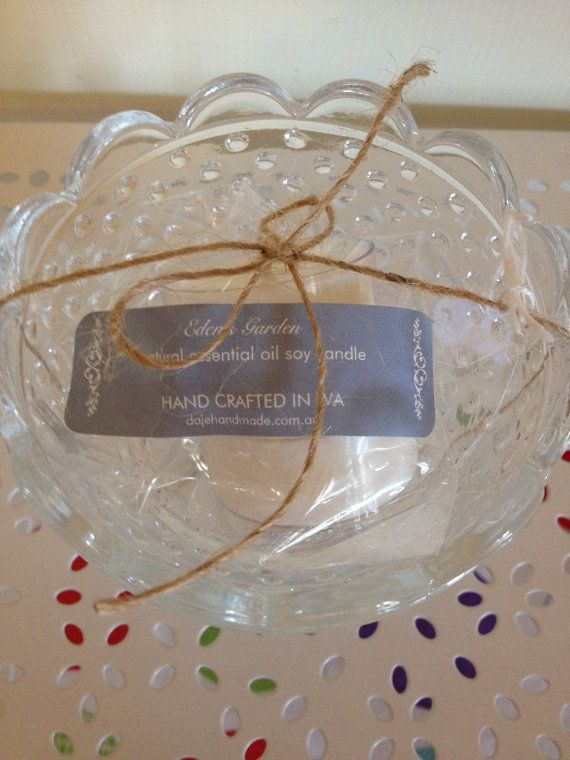 $21.50 Natural Soy Candle scented with Eden's Garden by dajehandmade