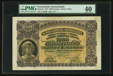 World Currency: , Switzerland Schweizerische Nationalbank 1000 Francs 1.1.1917 Pick8c. ...