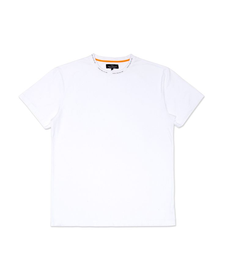 "Atelier New Regime white crewneck t-shirt featuring ""Fuck You Pay Me"" slogan in black printed around the collar."