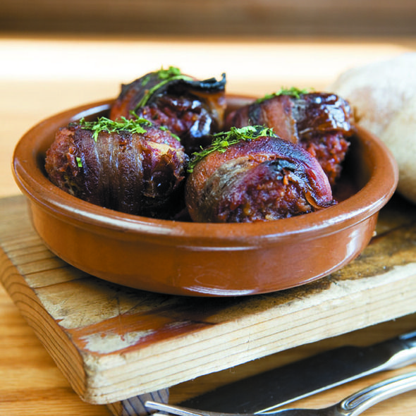 Hip-hip hooray — first #dishoftheday!   Bacon-wrapped, Chorizo-stuffed Medjool Dates at Avec Restaurant in Chicago