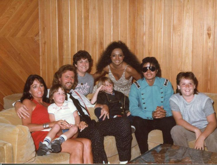 "Barry, Linda Gibb and the children, with Michael Jackson and Diana Ross - 1985 recording of ""Eaten Alive""  