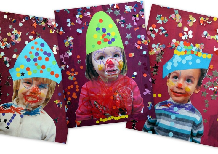 Print picture of kids and have them draw clown face and add hat.