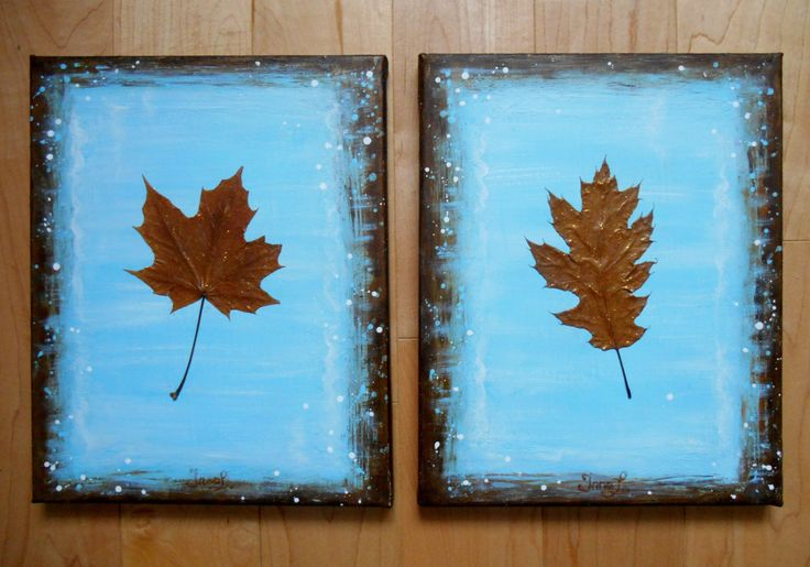 Original Painting on Canvas, Canada Maple Leaf, Oak Leaf, Collage, Two 8X10, Real Niagara Dry Leaves, Modern, Gift Idea, Blue Painting, Gold by InnArtStudio on Etsy