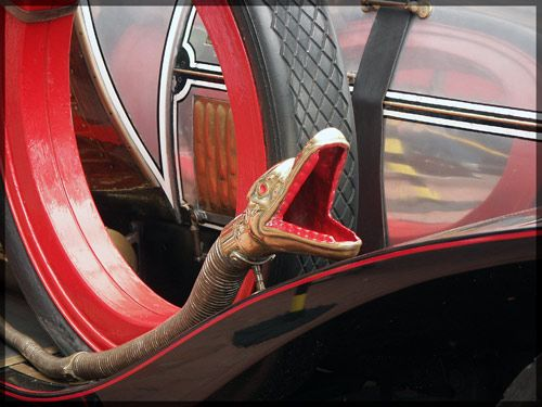 A close-up of the horn on Chitty Chitty Bang Bang
