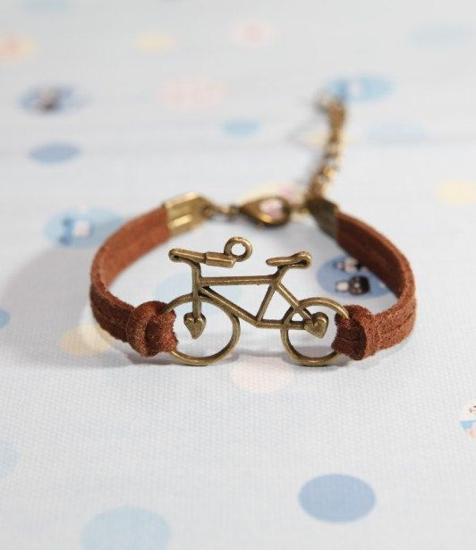 Bicycle bracelet- Bronze Bicycle with brown Flocking leather bracelet, bridesmaid bracelet, friendship christmas gift on Etsy, $1.66