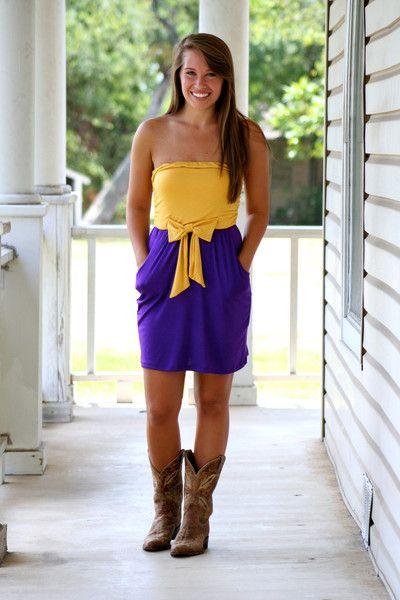 would work for ECU or LSU, gameday dress!!!