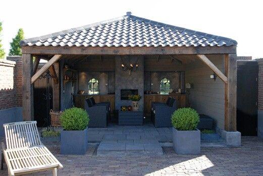 Overdekt terras met haard tuin pinterest haard terras en tuin - Overdekte patio pergola ...