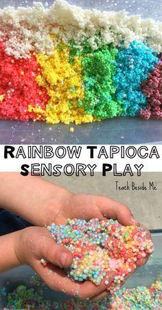 Sensory bin using tapioca pearls!  SO fun for toddlers and preschoolers.  (Also…