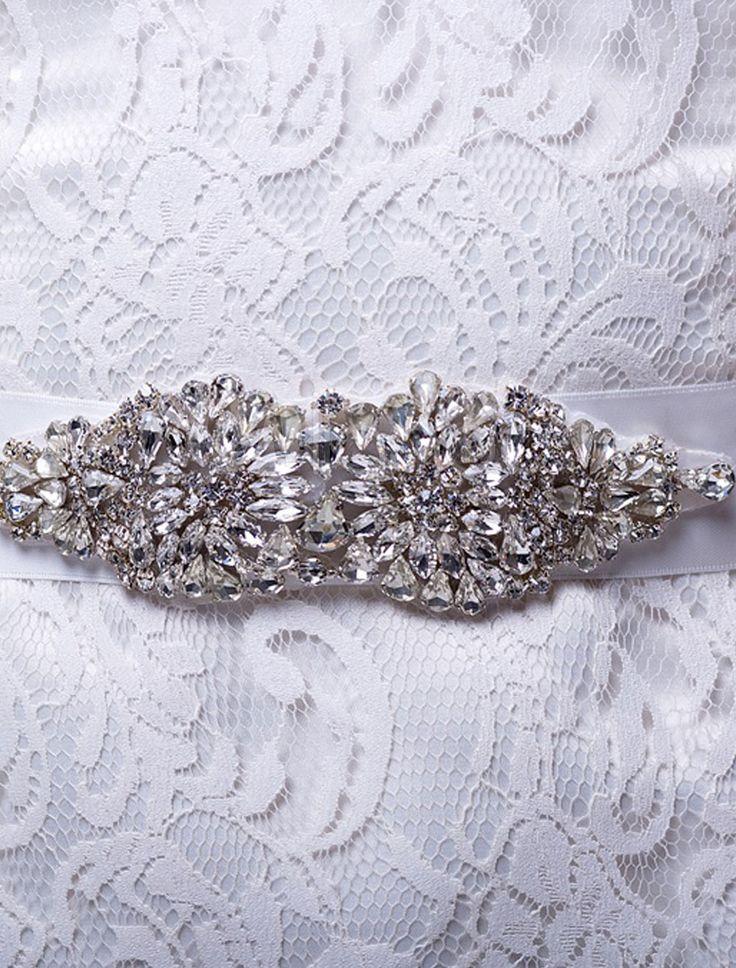 Marfil medio encantador marco de boda con diamantes de imitación - Milanoo.com