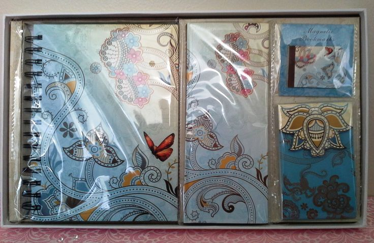 Girls/Childs Butterfly Notebook, Notepad & Bookmark Boxed Set  Blue