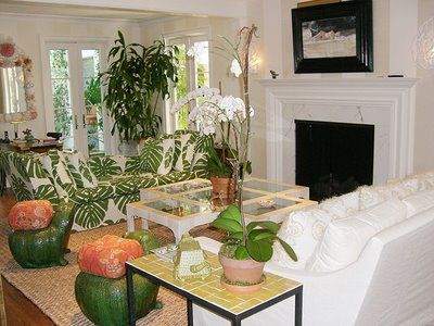 green and white palm fabric furniture - Google Search