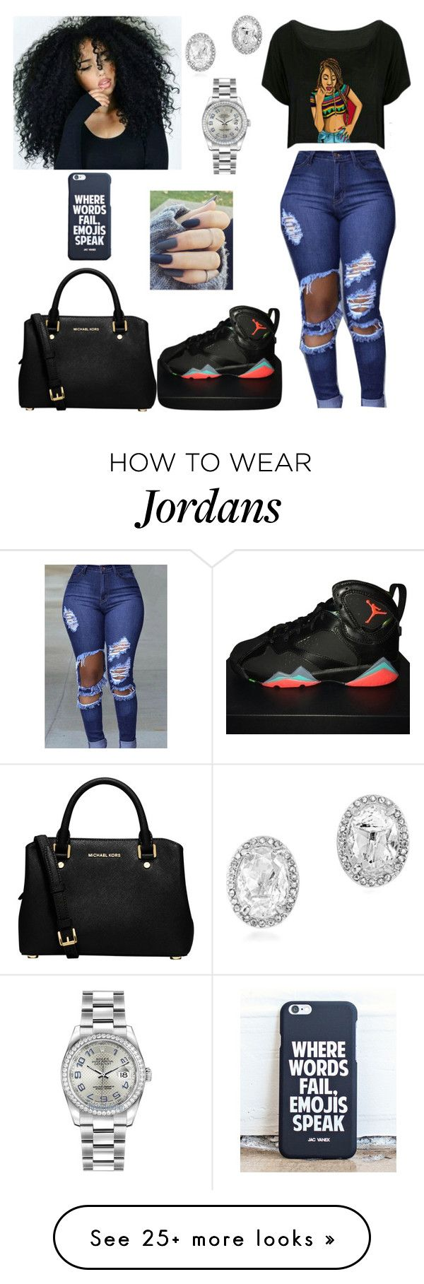 """""""Untitled #462"""" by honeycombs23 on Polyvore featuring NIKE, MICHAEL Michael Kors, Carolee and Rolex"""