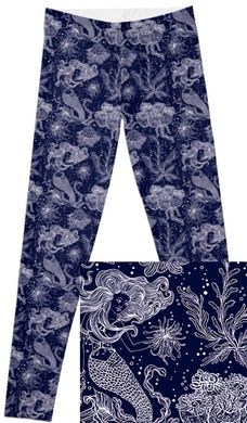 Navy Under the Sea Mermaid nautical leggings! Special Pre-Order. Cheaper price! Like Lularoe with the yoga waist band, buttery soft fabric, and limited prints but no searching! They are all here! Charlie's Project adult and kid leggings.