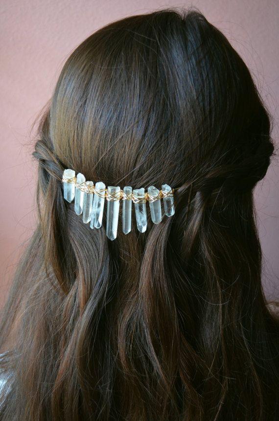Quartz Crystal Hair Wreath, Bridal Hair Piece, Quartz Crystal Crown