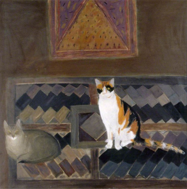 Two Cats on a Kelim | oil painting, 1978 | Elizabeth Blackadder ---- Brighton and Hove Museums