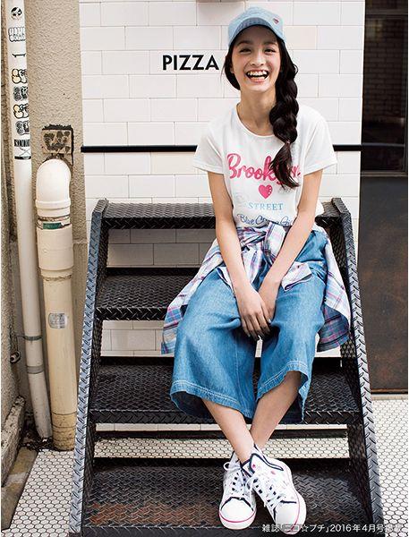 デニムガウチョパンツ♪ ☆小学生ファッション スタイルの参考コーデ☆