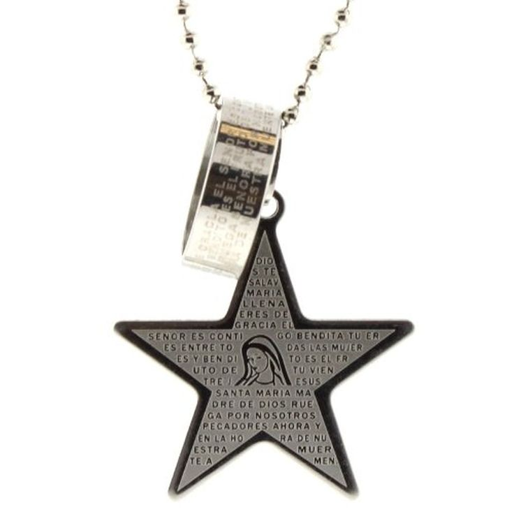 Stainless Steel Star Pendant with the Ave Maria (Hail Mary) Prayer in Spanish