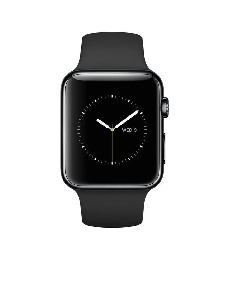 Apple Watch 42mm Stainless Steel Case with Black Sport Band NEW #Apple