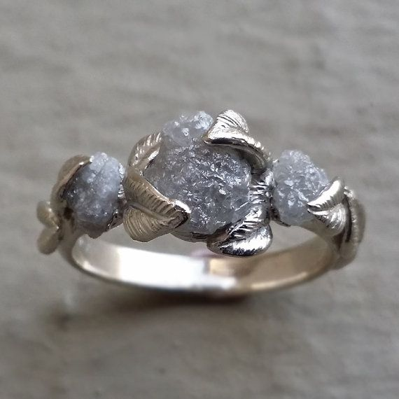 3 Diamond Leaf Engagement Ring Raw Uncut by DawnVertreesJewelry