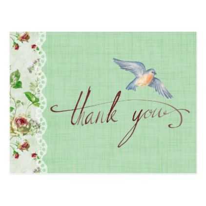 Calligraphic Thank You with Flowers and Bird Postcard - diy cyo personalize design idea new special custom