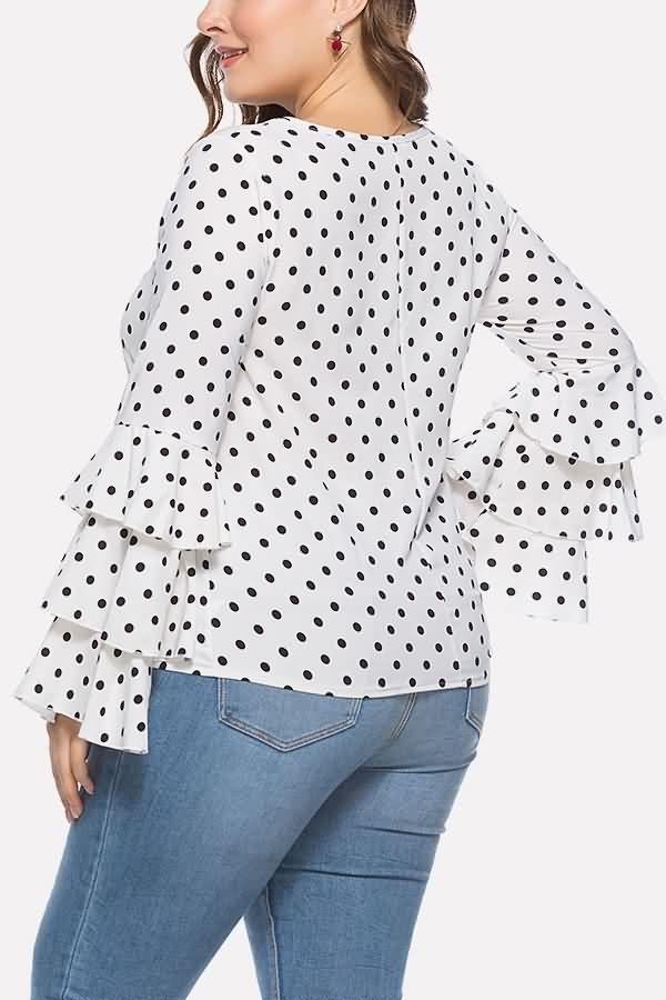 Women White Polka Dot Print Layered Sleeve Casual Plus Size Blouse – XXL