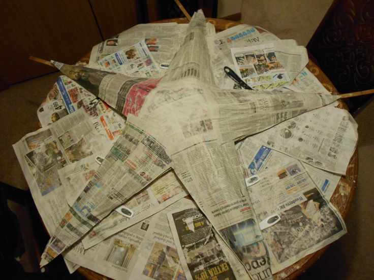 Part I  I am in the process of making a star, to go over my bed.  It is approximately 4 feet tall.  It started with, 5 Christmas paper tubing and 4 sticks. More of straight across and joining 2 of the lower part of the star. The top part, does not have a stick in it tubing.  This is paper Mache. You have to cut the newspaper into star arms.  It took 6 Sunday news papers. This is just the front of it.  It takes several days to dry. Do not rush it.