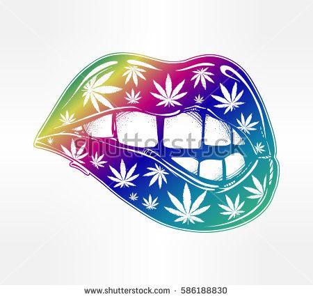 Sexy fatal biting lips with weed pattern. Pop art print in flash tattoo style. Drug consumption, marijuana use clip art. Concept design. Elegant tattoo artwork. Isolated vector illustration.