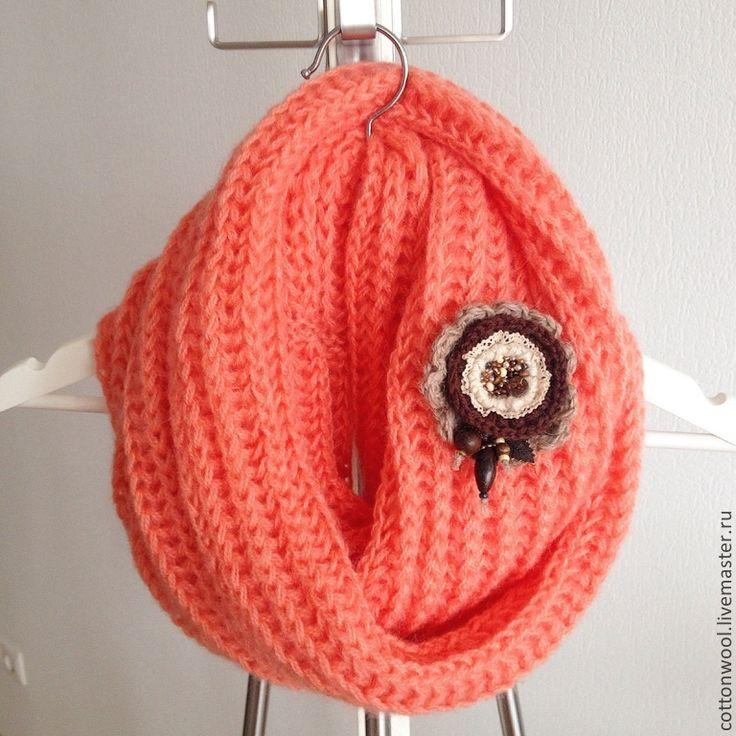 """Купить Весенний снуд """"Сицилийский апельсин"""" - оранжевый, шарф, шарф женский, шарф вязаный, шарфик"""