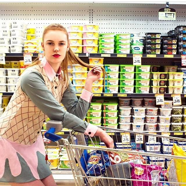 @ellementsmagazine @rhi_morgs of @londonmgtgroup by @marissaaldenphoto wearing the WND.LND dripping dress #wndlnd #iscream #groceries #barbie #ellementsmagazine #marissaalden #londonmgtgroup #shopping #fashion #butter