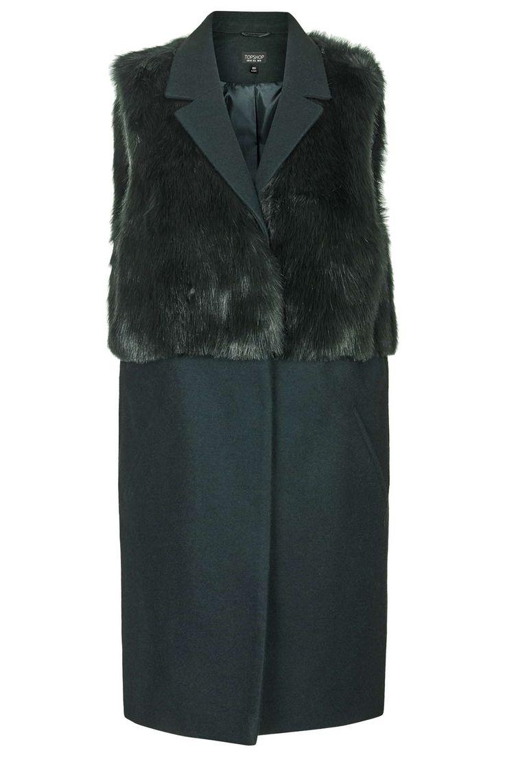 Sleeveless Faux Fur Hybrid Coat - Topshop