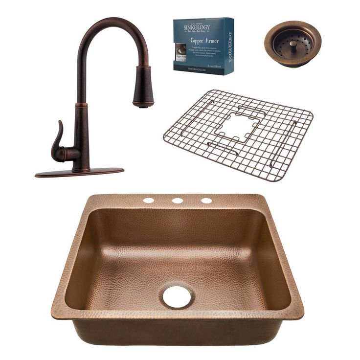 Pfister All-In-One Rosa 25 in. Drop-In 3-Hole Copper Sink Combo with Ashfield Rustic Bronze Faucet, Antique Copper