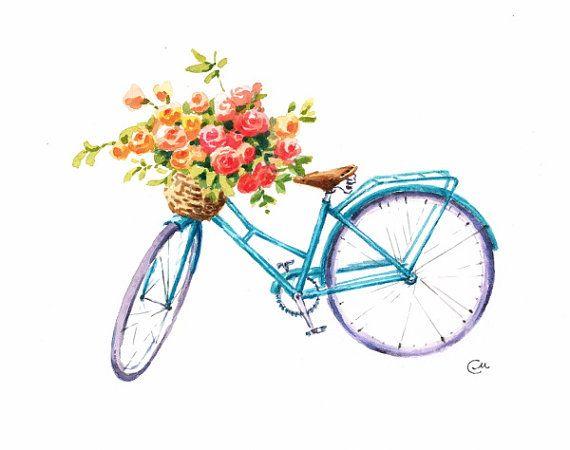 Watercolor Flower Bike  Original Painting Flowers by CMwatercolors