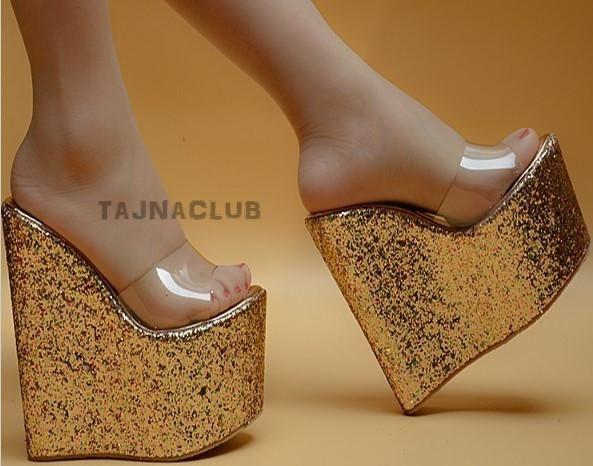 c3940913aa5 Mules Wedge Heel Sandals Clear Toe Band Golden Glitter Platform High Heels  Shoes