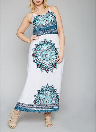 Plus Size Printed Halter Neck Maxi Dress,JADE