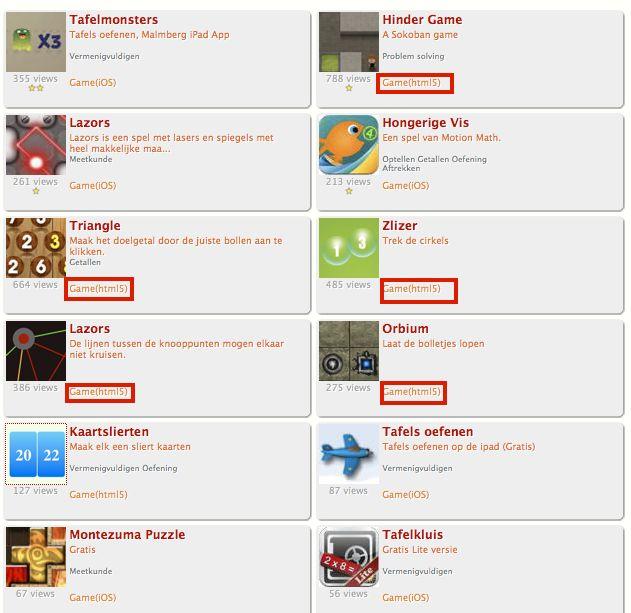 """Rekengames voor de iPad Rekenweb heeft op de website een plaats waar ze een """"collectie iPad"""" verzamelt."""