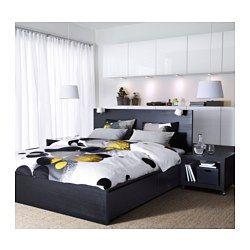 IKEA - MALM, Høy seng med 2 oppbevaringsbokser, 160x200 cm, -, , De 2 store skuffene på hjul gir deg ekstra oppbevaringsplass under sengen.Trefineren vil gjøre at sengen bare blir vakrere med årene.Justerbare sengesider slik at du kan bruke madrasser av ulike tykkelser.