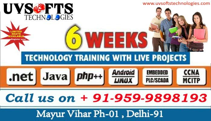 4/6 weeks Technology training with Live Projects