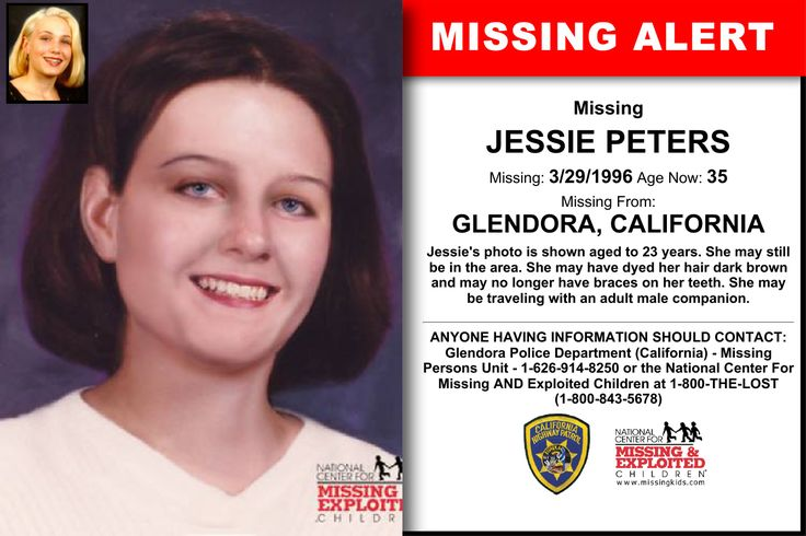 JESSIE PETERS, Age Now: 35, Missing: 03/29/1996. Missing From GLENDORA, CA. ANYONE HAVING INFORMATION SHOULD CONTACT: Glendora Police Department (California) - Missing Persons Unit - 1-626-914-8250.